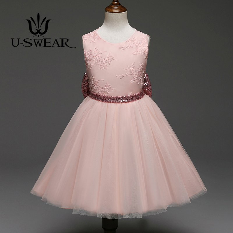 U-SWEAR 2019 New Arrival Kid Flora Lace   Flower     Girl     Dresses   O-neck Sleeveless Embroidery Big Bow Back Sequined   Dress   Vestidos