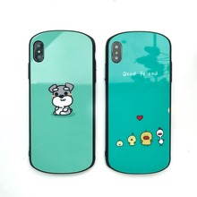 Arc Tempered Glass Case For iPhone X XS XR MAX 7 8 Plus Cute Cartoon animal Duck Dog chicken Mobile Phone
