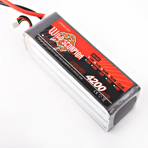 1pcs Wild Scorpion RC  Lipo battery  22.2V 4200mAh 35c AKKU For RC Quadcopter Drone Helicopter Car Airplane wild scorpion rc 18 5v 5500mah 35c li polymer lipo battery helicopter free shipping
