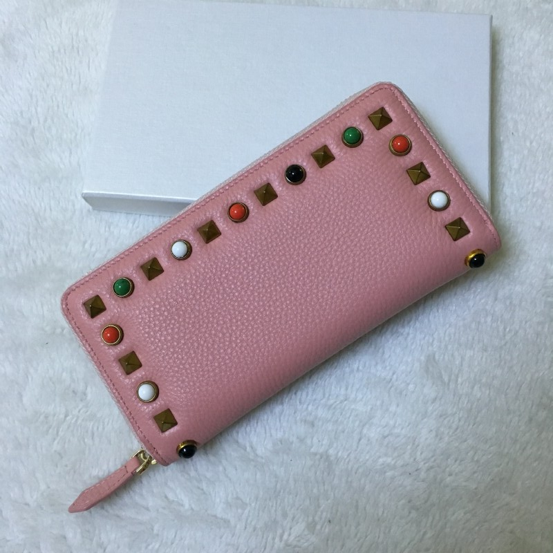 Pink female leather wallet color orange with long zipper multi-function wallet card multi-function коллектор 4 выхода 3 4 х 1 2 нр
