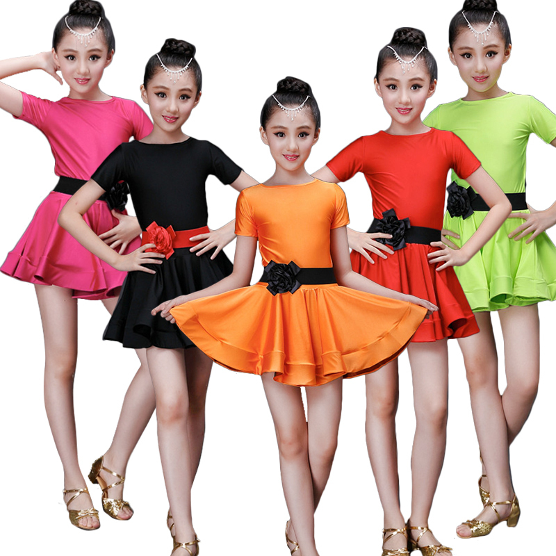 Kid Girls Latin Dance Dress Costumes Child short Sleeve Ballroom Costume salsa rumba tango samba cha cha Dress For Girls spandex