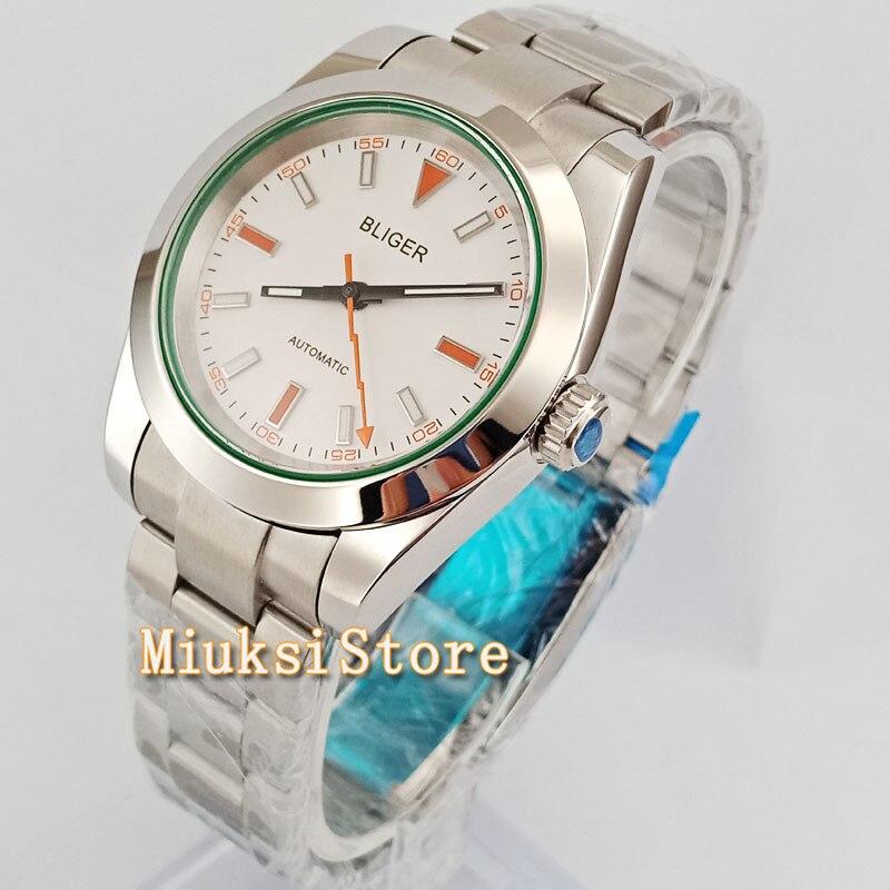 40mm White Dial Sliver pasek ze stali nierdzewnej biznes mężczyzn zegarek zegarek W2760 w Zegarki mechaniczne od Zegarki na  Grupa 2