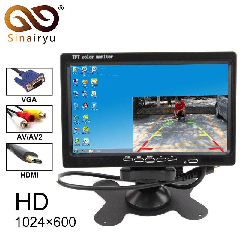 Sinairyu 1024x600 7 polegada Monitor Do Carro Cor Brilhante Interface HDMI AV VGA Auto Rear View Monitor de TFT LCD