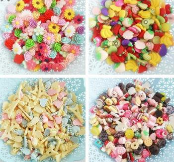 500pcs/lot flat back Resin DIY accessories,mixed resin diy jewelry accessories, fruit donuts flower style about 14-30
