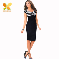 Orange X L Whie Black Striped Patchwork Bodice S XXL Ladies Knee Length Bodycon Dress Women