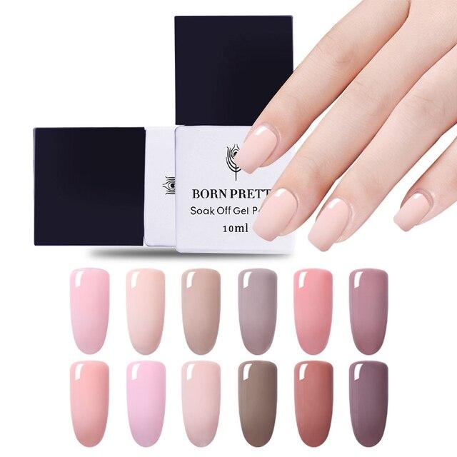 BORN PRETTY Gel Nail Polish Soak Off UV Painting Gel Varnish Solid Colors Manicure DIY Nail Art Gel Lacquer 10ml