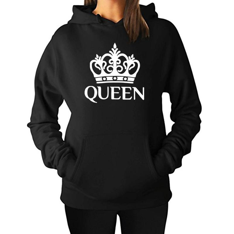 QUEEN KING Hoodies Women Men Lovers 2017 Fashion Harajuku Bts Sweatshirts Hooded Couples Casual Pullovers Tracksuits Coat