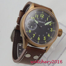 43mm Black Dial Sapphire Glass Bronze plated Case Luminous marks Leather strap Luxury Brand Automatic Movement mens Watch