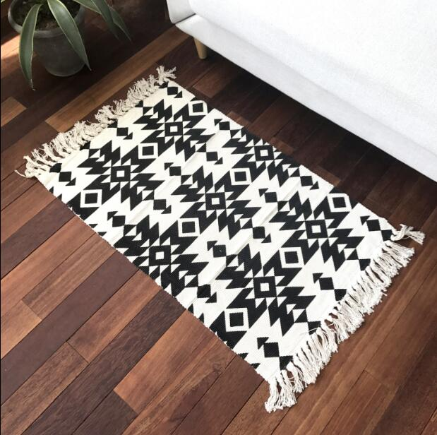 Nordic Fringed Carpet Linen Bedside Mats Black White Anti Slip