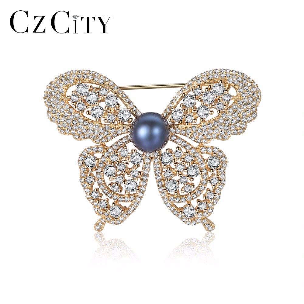 CZCITY 2 Colors Cute Animal & Insect Butterfly Brooches Pins for Women Pearl Accessories Clothing Brooch Fashion Jewelry цена 2017