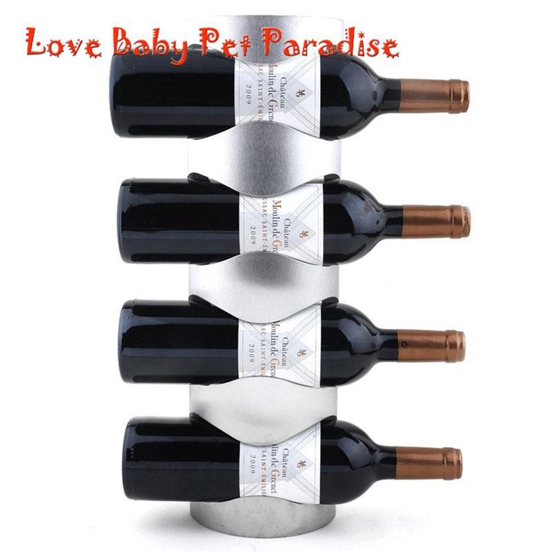 Elegant Fashionable Home Decoration Packaging 4 Bottles Support Stainless Steel Wine  Bottle Holder Rack Shelf For Home Party Restaurant In Wine Racks From Home  ... Design