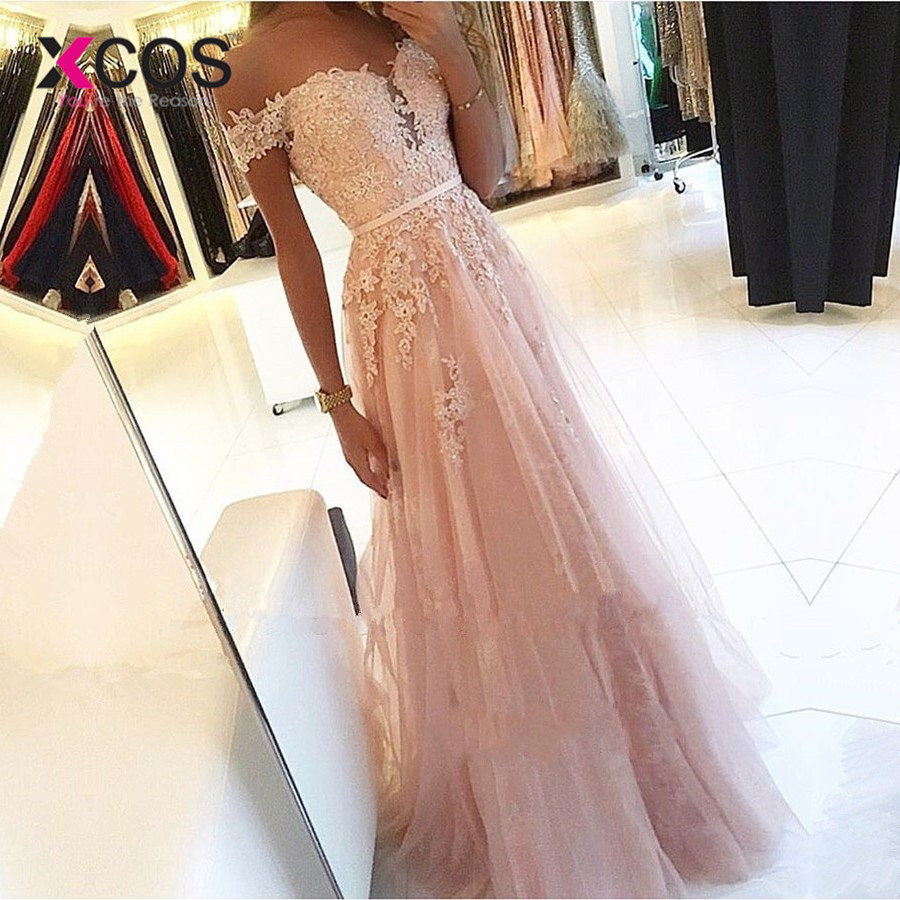XCOS Pink 2019 Prom Dresses A-Line Off the Shoulder Sweetheart Beaded Lace Long Prom Gown Evening Party Dresses Robe De Soiree