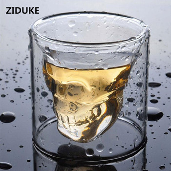 Double Wall Skull Skeleton Whisky Bar wine glasses Glass Cup Crystal Skull Head Vodka Shot Wine Glass  Novelty Cups