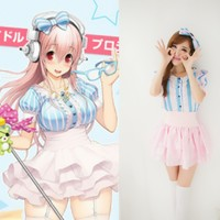 New hot Women's Girls Super Sonico Cosplay Costumes Maid uniform Anime Blue pink stripes Sexy Waist lolita skirt+Jacket+Headwear