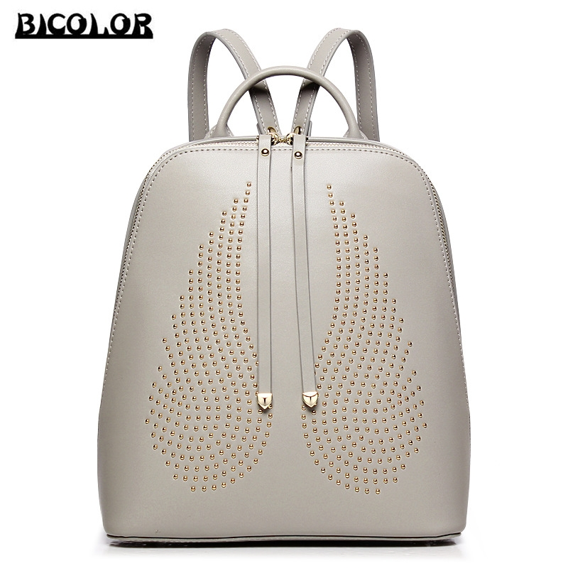 9f44746fae33 BICOLOR Latest Vogue Women Backpacks for Teenage Girls School Bag Unique  Edition Luxury Genuine Leather Backpack Women Back Bags