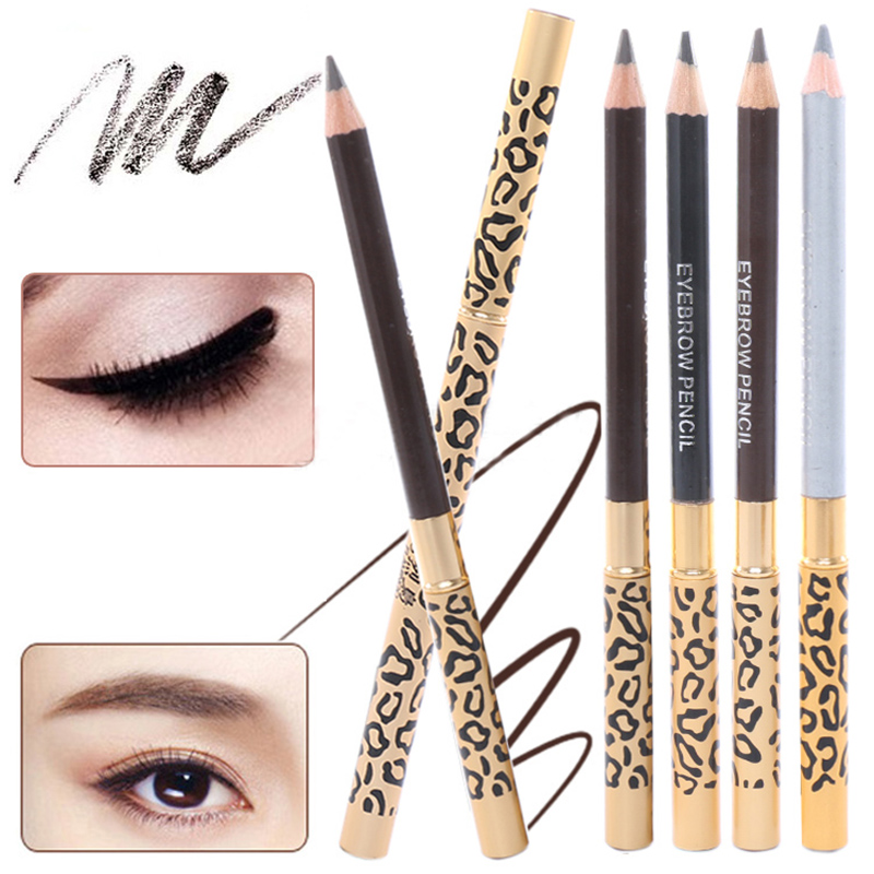 1Pc 5 Colors Waterproof Leopard Long lasting Makeup Beauty Eyeliner Eyebrow Pencil + Brush Cosmetic black long lasting pencil waterproof eyeliner mascara makeup waterproof lengthening cosmetics set cosmetic beauty makeup meiking