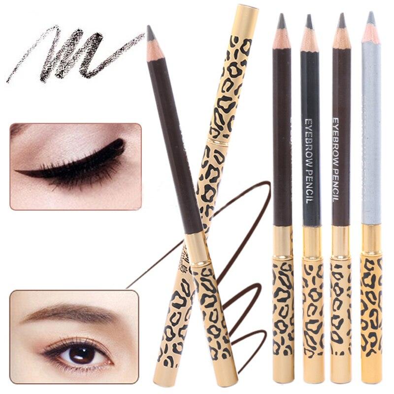 1Pc 5 Colors Waterproof Leopard Long lasting Makeup Beauty Eyeliner Eyebrow Pencil + Brush Cosmetic cartoon doll style waterproof eyeliner for makeup cosmetic purple