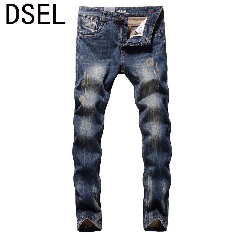 2017 New Dsel Brand Men Jeans Fashion Designer Distressed Ripped Jeans Men Straight Fit Jeans Homme,Cotton High Quality Jeans 2017 new original high quality dsel brand men jeans straight fit distressed ripped jeans for men dsel brand jeans home 604 a