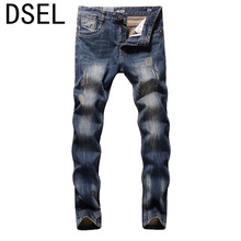 2017 New Dsel Brand Men Jeans Fashion Designer Distressed Ripped Jeans Men Straight Fit Jeans Homme,Cotton High Quality Jeans