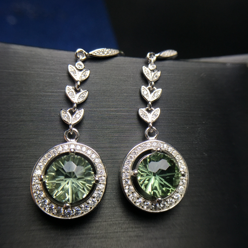 Uloveido Green Crystal Drop Earrings for Women 925 Sterling Silver Dangle Earrings for Women Girls 20