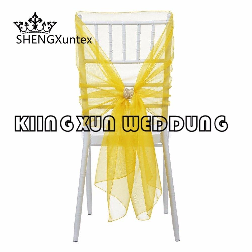 New Design 65CM*160CM Chiavari Organza Chair Hood  Chair Sash With Buckle For Wedding Event Decoration