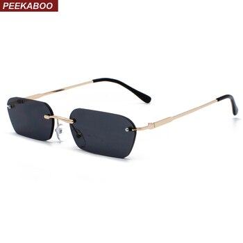 Peekaboo rimless rectangle sunglasses women clear color 2019 summer accessories square sun glasses for men small size uv400