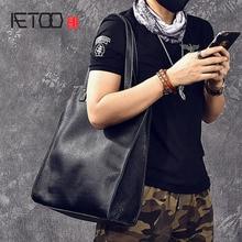 AETOO Unisex top layer soft leather tote bag Vintage handmade leather handbag shoulder bag