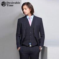 Wünschenswert Zeit Business Plaid Anzüge Männer Smoking Prom Kleider Hochzeit Bühne Anzug Slim Fit Herren Blau Anzüge Jacke + Weste + hosen DT246