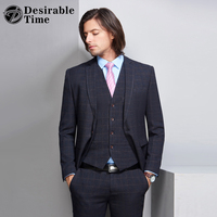 Desirable Time Business Plaid Suits Men Tuxedo Prom Dresses Wedding Stage Suit Slim Fit Mens Blue
