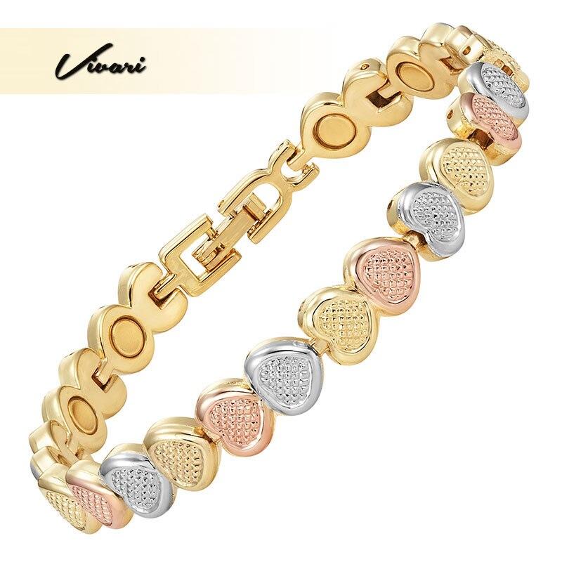 Vivari Trendy Magnetic Heart Bracelet For Women 24 Pcs Magnets Zinc Alloy 3-Tone Jewelry Female Bangle Charm Supreme Adorable