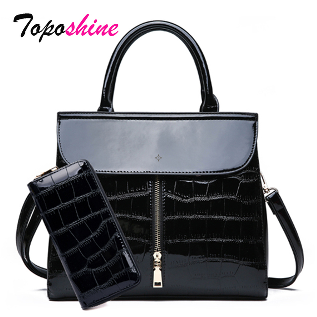 Toposhine  Patent Leather Glossy Stone Pattern Ladies Handbag New Two-Piece Composite Bag Casual Wild Shoulder Messenger Bag