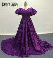 2017 Dark Purple Una Línea de Vestidos de Noche con Mangas Cortas Escote V Piso-Longitud de Barrido Tren vestidos de Baile Vestidos