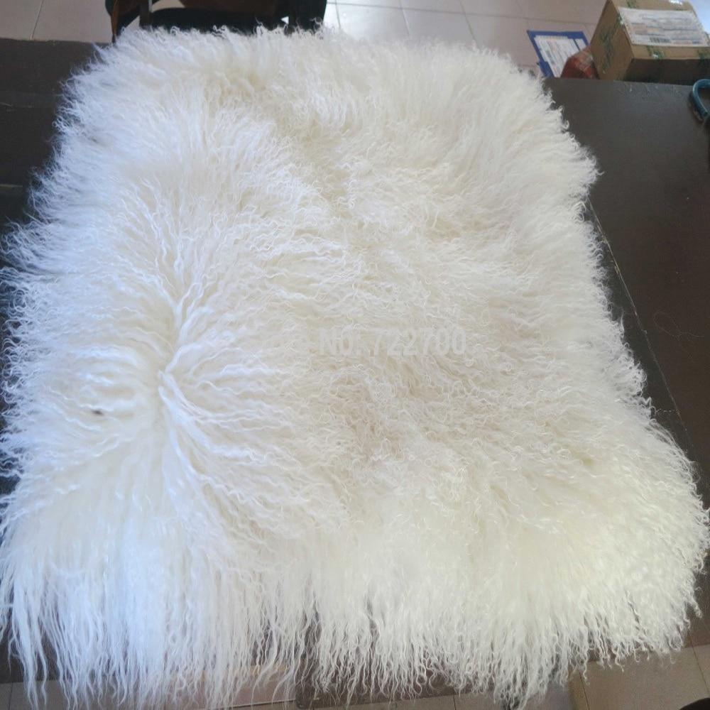 New Real White Tibetan Lamb Fur Pillow Cover Chair Fur