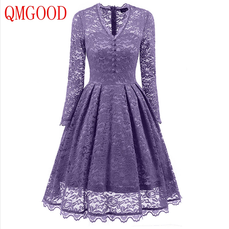 QMGOOD 2017 Autumn Lace Women Swing Dress Long Sleeves V Collar Solid Dress Party Prom Social