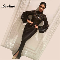 Black Sequined Evening Dresses Arabic Mermaid Evening Gown Party Dress Vestido Longo Prom Dresses High Neck With Long Sleeves