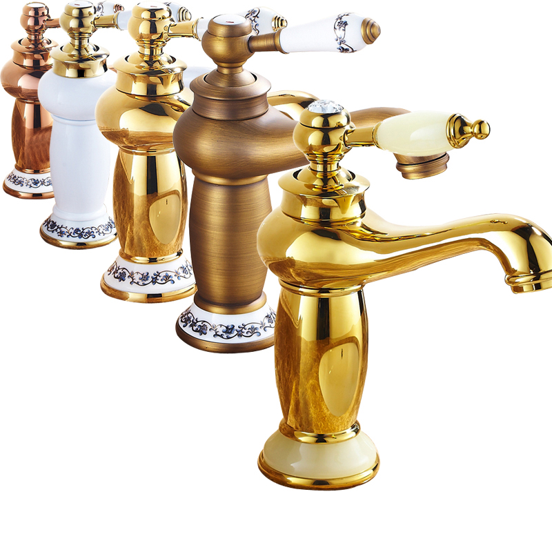 5 colors Good Quality Chrome golden brass Hot and Cold Water Basin Vessel Sink Faucet Deck