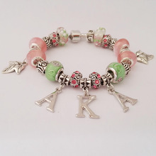Custom  AKA Sorority  letter  charm bead   bead  bracelet bangle  Jewelry  AKA Ivies bracelet Jewelry 1pcs free shipping