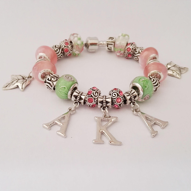 Custom  AKA Sorority  letter  charm bead   bead  bracelet bangle  Jewelry  AKA Ivies bracelet Jewelry 1pcs free shipping
