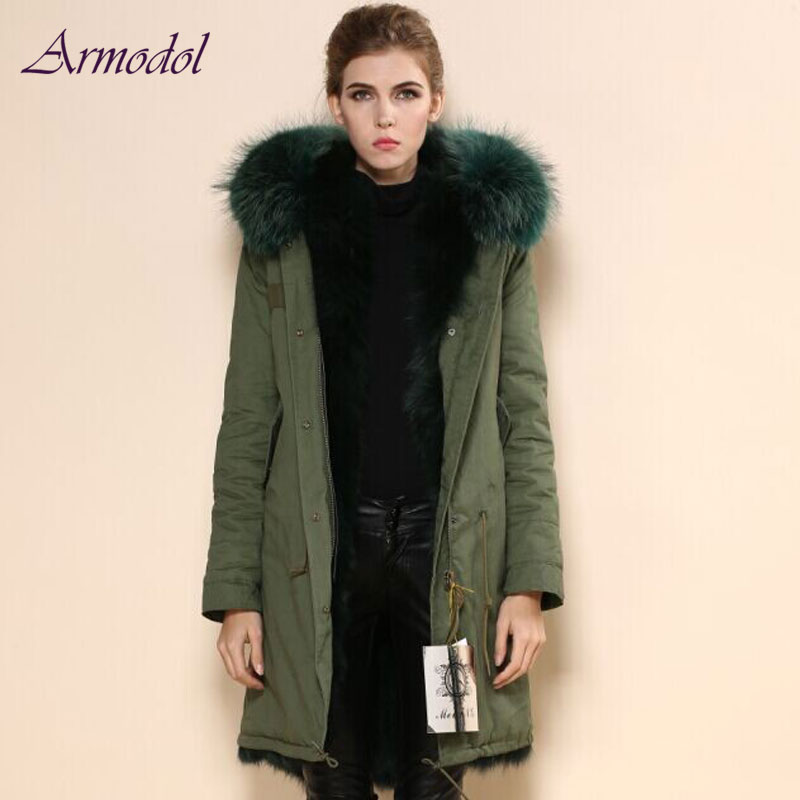 2017 Winter New Color Real Fox Fur Jacket Women Long Wind Coat Long Hair Raccoon Fur Hood Parka Factory Price