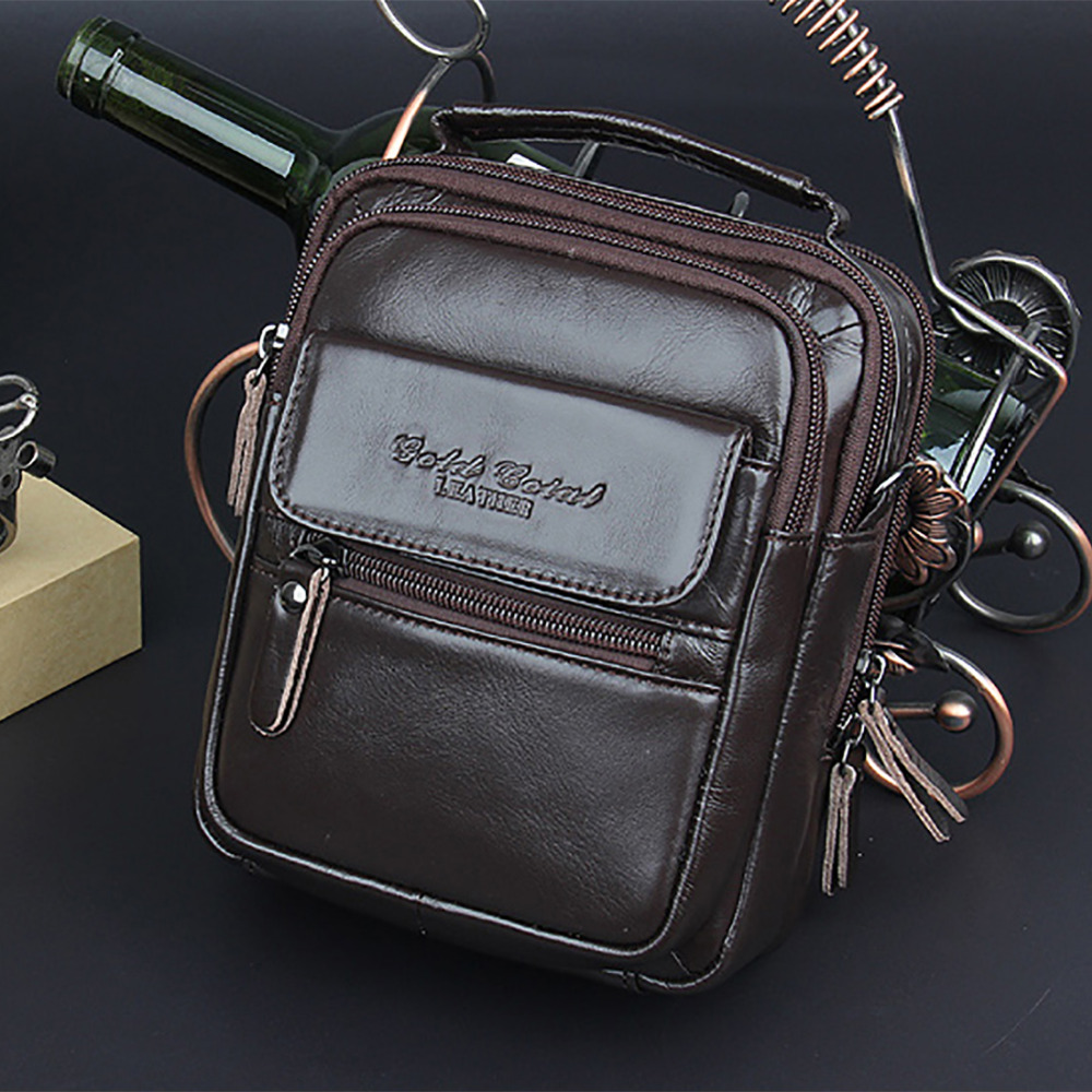 Fashion Men Genuine Leather Messenger Sling Shoulder Bag First Layer Cowhide Male Cross Body Bags Business Small Tote Handbag new style simple casual first layer of cowhide male one shoulder bag genuine leather men s handbag business messenger small bag