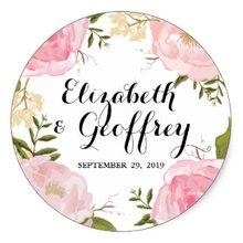 Modern Vintage Pink Floral Wedding Custom Sticker