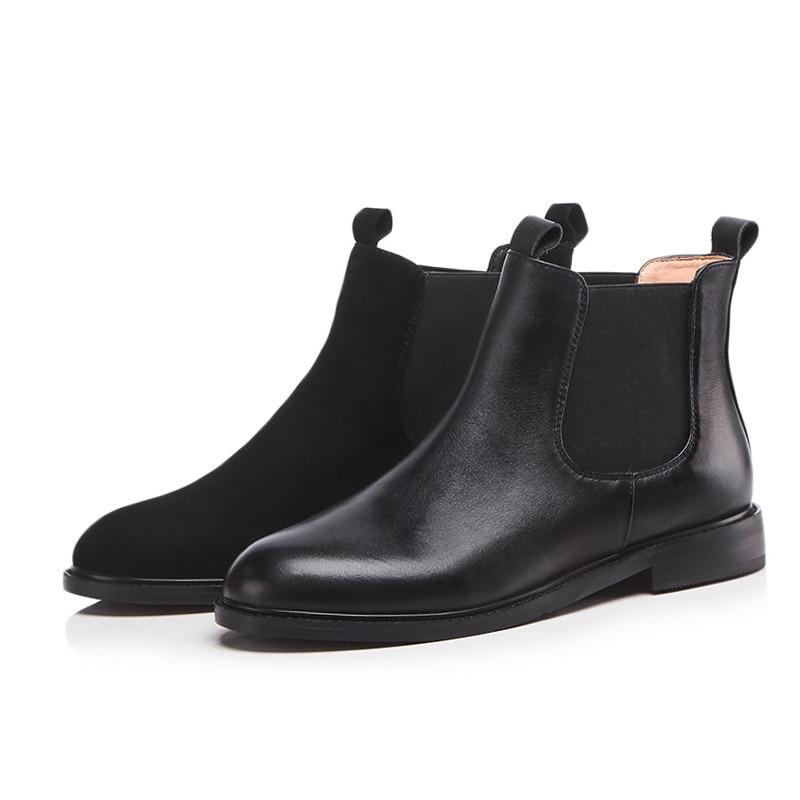 Dames 1 2 Black Rond Taille Fur Femmes Cuir 2018 black 43 Cheville Chaussures Femme Véritable Fur Automne Bottes Not Hiver Nouvelles Grande With Mode Bout Asumer En 34 If6vgbyY7