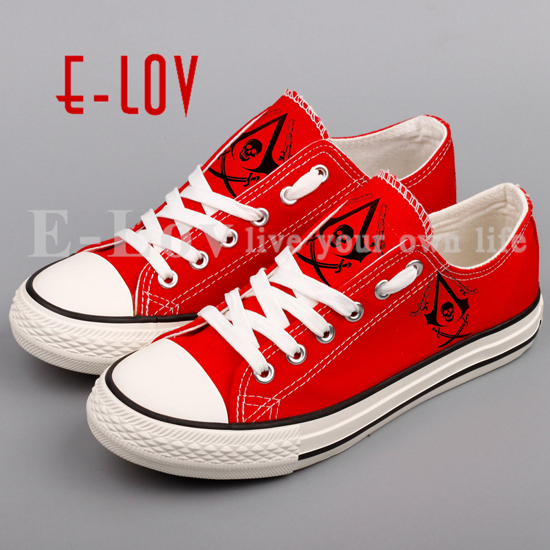 2017 Spring Autumn Printed Assasins Creed Canvas Shoes Unisex Women Hip Hop Casual Shoes Printing Assassin Creed Girls Flat Shoe