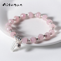 Aitunan Sweet Natural Pink Crystal Bracelet Lucky Stone 925 Sterling Silver Bracelets for Women Feather Flower Crystal Jewelry