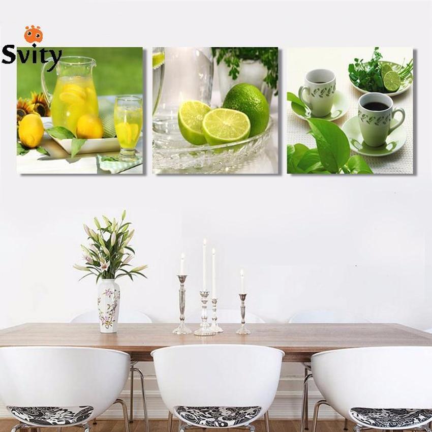 Triptych citron ovoce zelené plátno malování moderní nástěnné malby pro domácí dekorativní nástěnné malby na obrazové malby