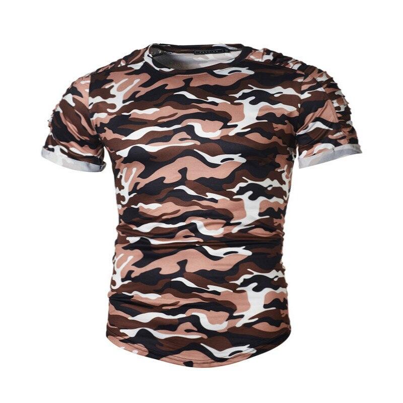 新しい夏軍事迷彩男性tシャツカジュアルoネックtシャツシャツオム半袖カモメンズ服ファッションtシャツ