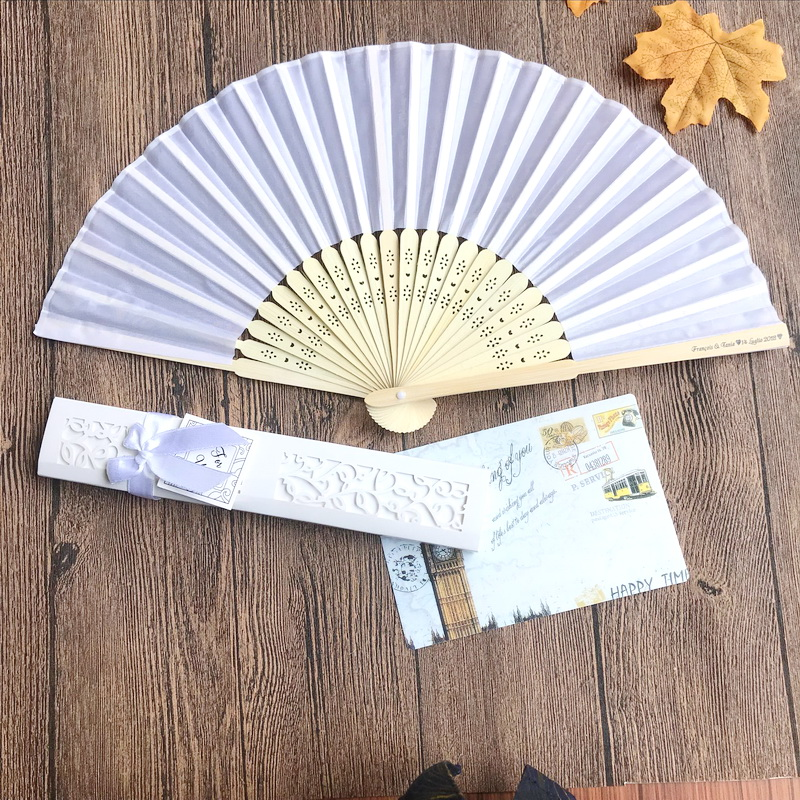 80pcs lot FREE SHIPPING Customized LOGO Luxurious Silk Folding Hand Fan in Elegant Laser Cut