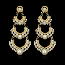 Indian Wedding Earring Chandelier Hanging Long Earrings Gold Color Multilayer Imitation Pearl Earings Fashion Jewelry