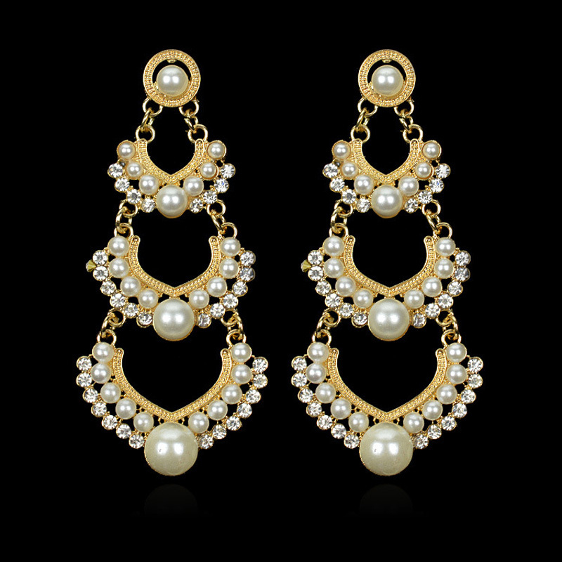 Indian Wedding Earring Chandelier Hanging Long Earrings Gold Color Multilayer Imitation Pearl Earings Fashion Jewelry Brincos In Drop From