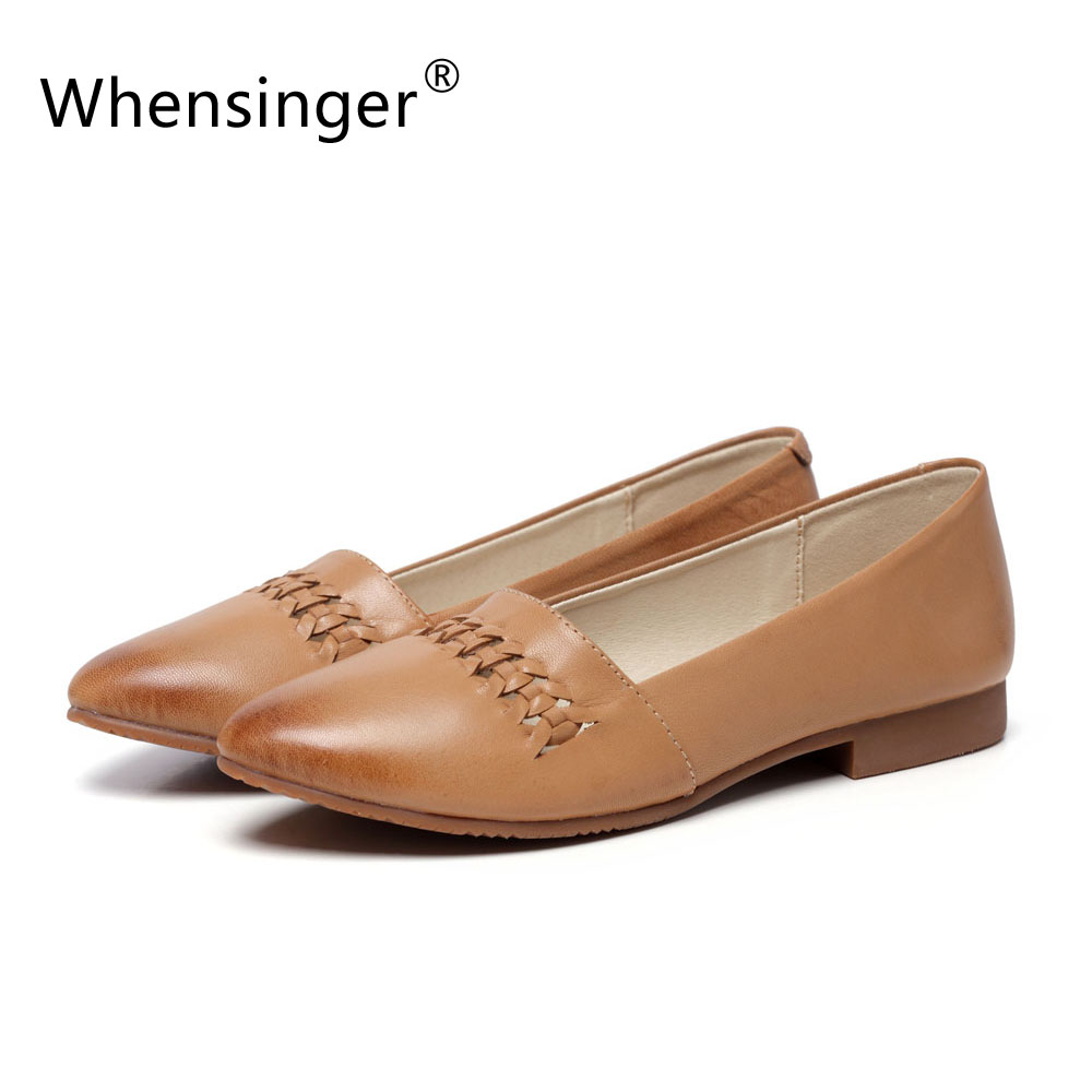 ФОТО Whensinger - 2017 Woman Shoes Summer Full Grain Leather Loafers Casual Solid Slip-On Handmade Hollow Design Flats 1108